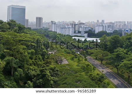 Top view of Singapore City - stock photo