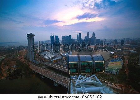 Top view of singapore flyer landscape in the evening time - stock photo