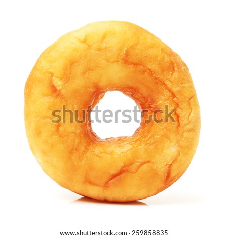 top view of single bagel isolated on white  - stock photo