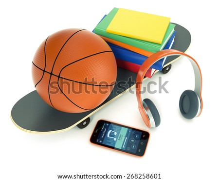 top view of skateboard, basketball, smartphone, headphones and books, concept of young generation life (3d render) - stock photo
