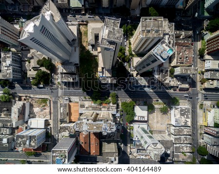 Top View of Skyscrapers in a Big City - stock photo
