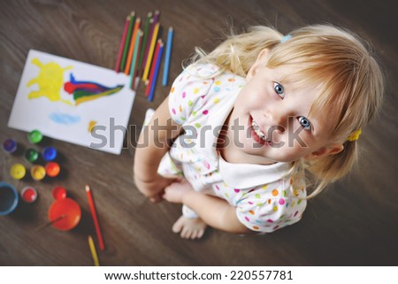 Top View of Small Artist. Soft focus. - stock photo