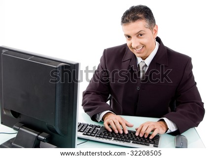 top view of smiling businessman on white background - stock photo