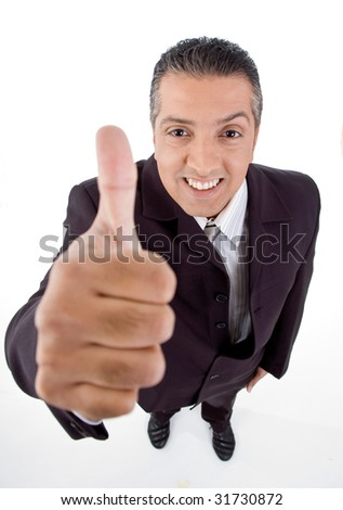 top view of smiling manager showing thumb up on white background - stock photo