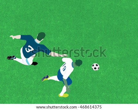 Top view of soccer players in action