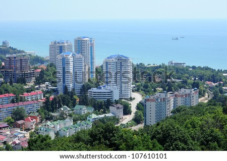 Top view of Sochi, Russia in summer - stock photo