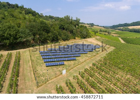 Top view of solar panels. Aerial view. - stock photo