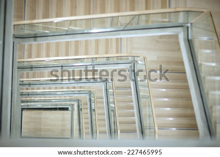 Top view of spiral ladder - stock photo