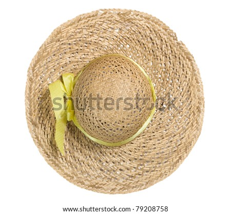 top view of straw hat on white - stock photo