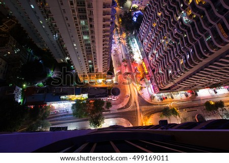 Top View of Street with Palm Trees of Chinese city, night scene