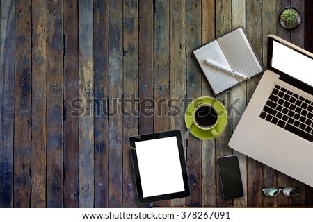 Top view of stuff office desktop and copy space . - stock photo