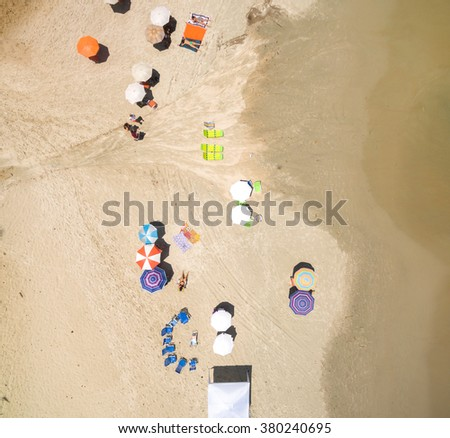 Top view of Summer Beach in Sao Sebastiao, Sao Paulo, Brazil - stock photo