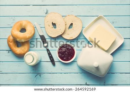 top view of tasty breakfast - stock photo