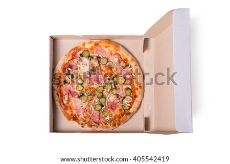 Top view of tasty Italian pizza with ham, in delivery box, isolated on white background