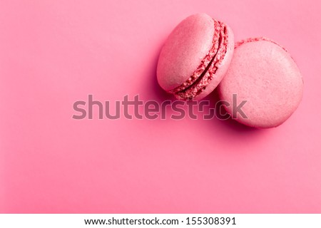 top view of tasty pink macaroons  - stock photo