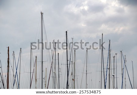 Top view of the boats docked in the marina of olhao city, Portugal. - stock photo