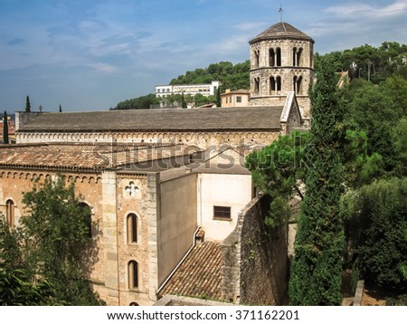 Top view of the castle and the Church in Girona, Spain