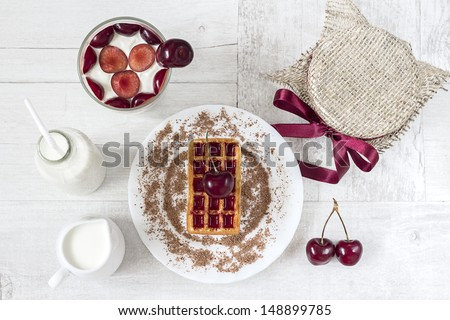 Top view of the cherry dessert - stock photo