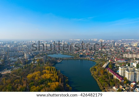 Top view of the city Krasnodar and Kuban river, Russia