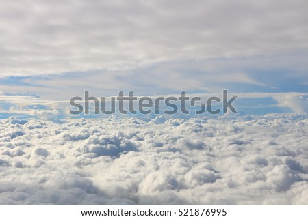Top view of the cloud photo taking from airplane window