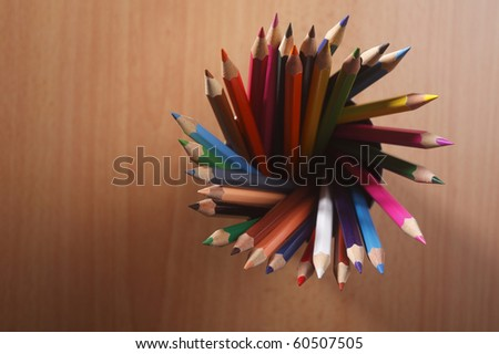 top view of the color pencil - stock photo
