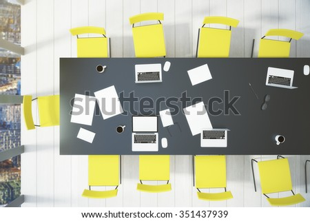 Top view of the conference room with a window and a table 3D Render - stock photo