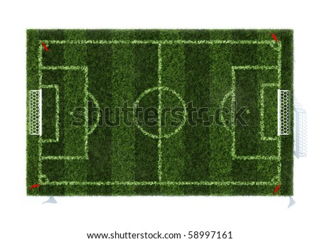 top view of the football field isolated on white background - stock photo