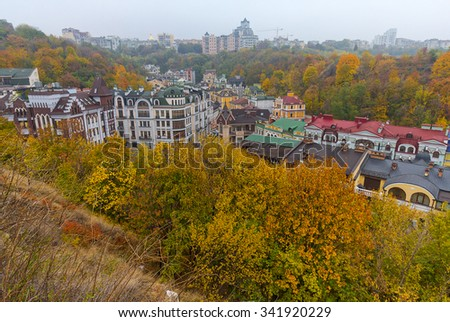 Top view of the historical center of Kiev - stock photo