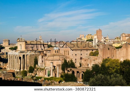 top view of the Imperial Forums in Rome,italy