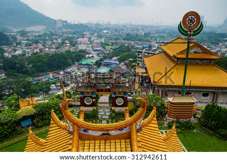 "Top View of The Kek Lok Si Temple ""Temple of Supreme Bliss""  a Buddhist temple situated in Air Itam in Penang - stock photo"
