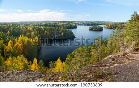 Top view of the lake Repovesi (Finland, South Karelia) - stock photo