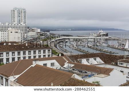 Top view of the Marina of Ponta Delgada (San Miguel Island) Azores, Atlantic Ocean, Portugal. - stock photo