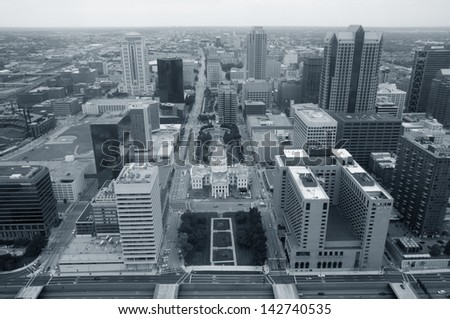 Top view of the modern city. St. Louis. USA. Monochrome