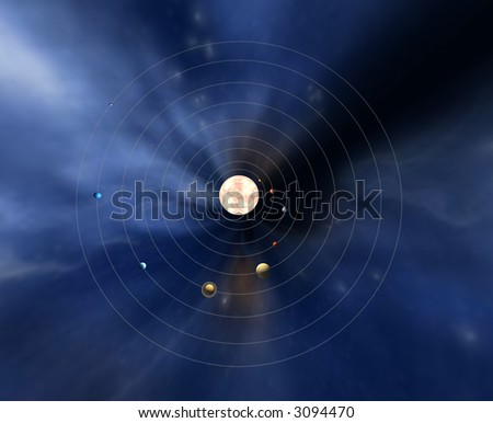 Top view of the planets in the Solar System - stock photo