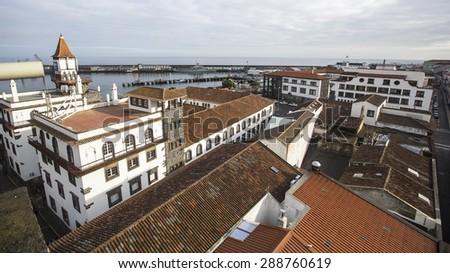 Top view of the Port of Ponta Delgada, Atlantic Ocean, Azores, Portugal. - stock photo