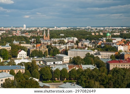 Top view of the residential districts of Latgale suburb, Riga, Latvia - stock photo