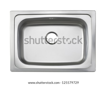 Top view of the sink kitchenware isolated on white - stock photo