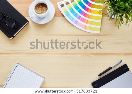 Top view of the table graphic designer - stock photo