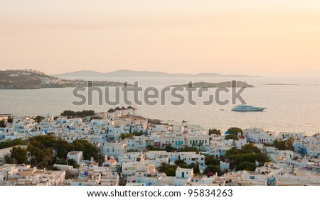Top view of the town of Mykonos at dawn - stock photo