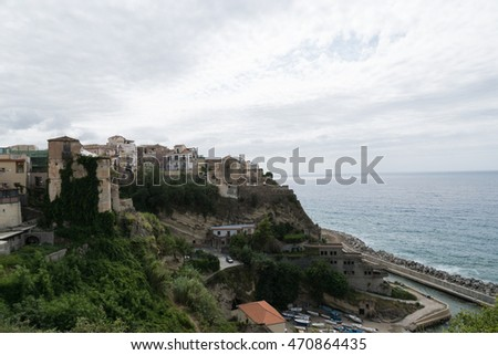 Top view of the town of Pizzo Calabro , Calabria, italy