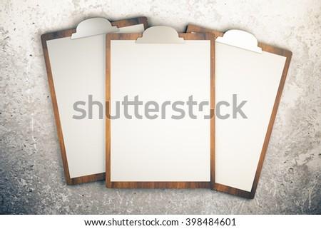 Top view of three blanks on concrete desktop. Mock up, 3D Rendering - stock photo