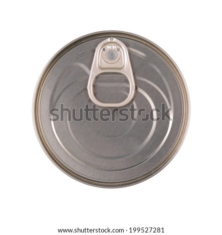 Top view of tin can isolated on white - stock photo