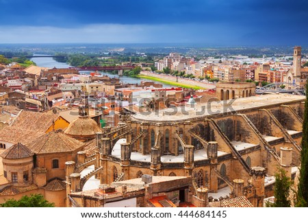 Top view of Tortosa with Cathedral from Suda castle. Spain
