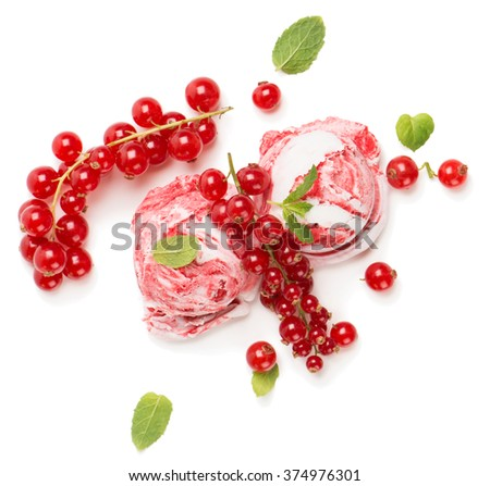 Top view of two scoops of redcurrant-vanilla ice cream and berries isolated on white background - stock photo