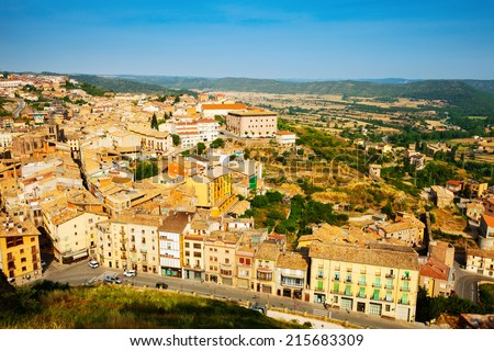 Top view of typical Catalan town. Cardona, Catalonia - stock photo