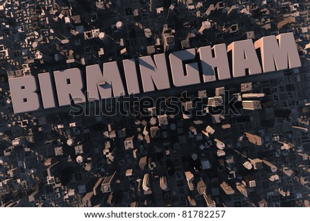 Top view of urban city in 3D with skycrapers, buildings and name Birmingham - stock photo