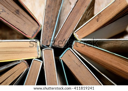 Top view of used old books - stock photo
