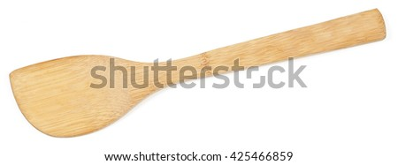 Top view of used wooden spatula isolated