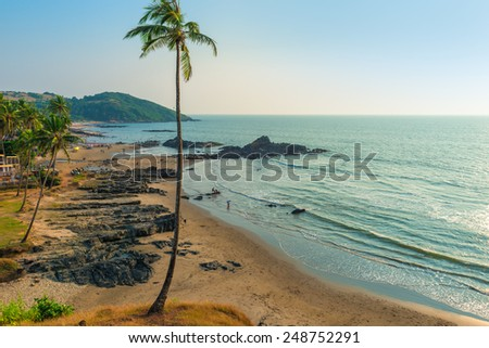 Top view of Vagator Beach in North Goa - stock photo
