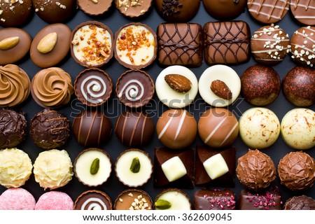 top view of variety chocolate pralines - stock photo